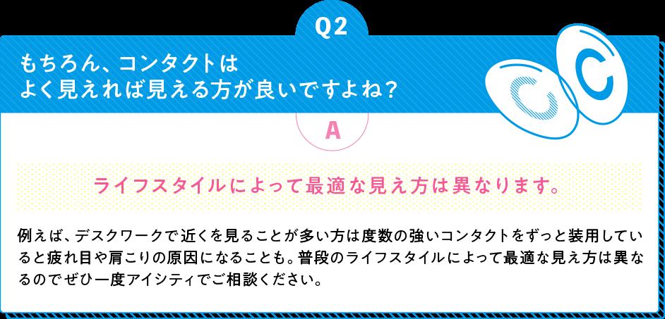 Q2 もちろん、コンタクトはよく見えれば見える方が良いですよね? A ライフスタイルによって最適な見え方は異なります。