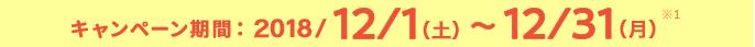 キャンペーン期間:2018/12/1(土)~12/31(月)