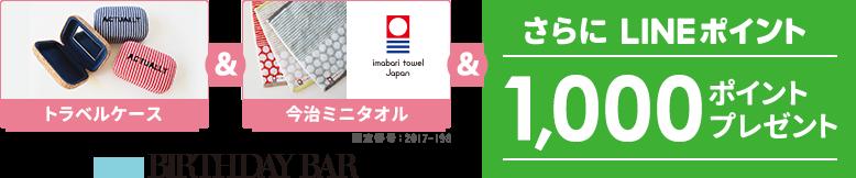 トラベルケース&今治ミニタオル&さらにLINEポイント1,000ポイントプレゼント