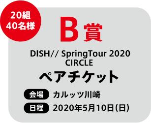 B賞 20組40名様 DISH// SpringTour 2020 CIRCLE ペアチケット 会場 カルッツ川崎 日程 2020年5月10日(日)