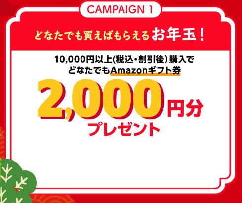 CAMPAIGN1 どなたでも買えばもらえるお年玉! 10,000円以上(税込・割引後)購入でどなたでもAmazonギフト券2,000円分プレゼント