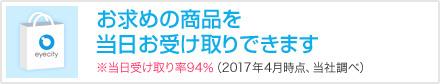 お求め商品を当日お受け取りできます※当日受け取り率94%(2016年4月時点、当社調べ)