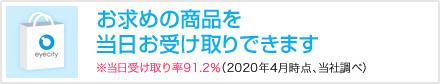 お求め商品を当日お受け取りできます※当日受け取り率91.2%(2020年4月時点、当社調べ)