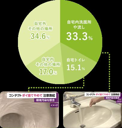 自宅外 その他の場所 34.6% 自宅内洗面所や流し 33.3% 自宅トイレ 15.1% 自宅内 その他の場所 17.0%