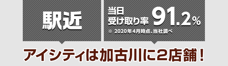 駅近! 当日受け取り率91.2%※2020年4月時点 アイシティは加古川に2店舗!