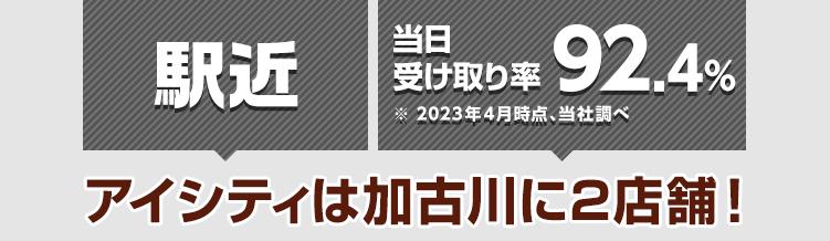 駅近! 当日受け取り率89.9%※2021年4月時点、当社調べ アイシティは加古川に2店舗!