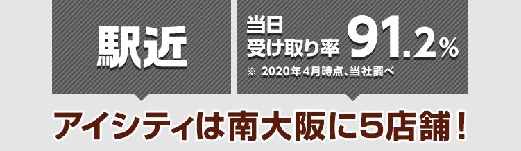 駅近 当日受け取り率91.2%※2020年4月時点、当社調べ アイシティは南大阪に5店舗!