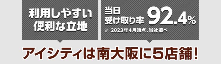 駅近 当日受け取り率89.9%※2021年4月時点、当社調べ アイシティは南大阪に5店舗!