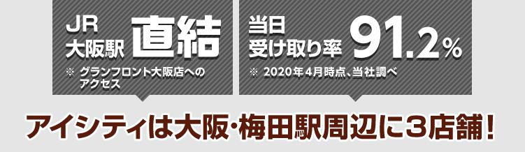 JR大阪駅直結 ※グランフロント大阪店へのアクセス 当日の受け取り率94% ※2017年4月時点、当社調べ アイシティは大阪・梅田駅周辺に2店舗!