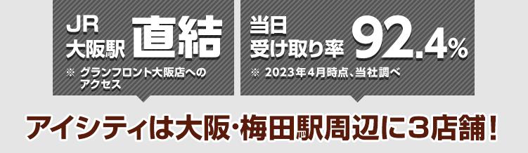 JR大阪駅直結※グランフロント大阪店へのアクセス 当日受け取り率89.9%※2021年4月時点、当社調べ アイシティは大阪・梅田駅周辺に3店舗!
