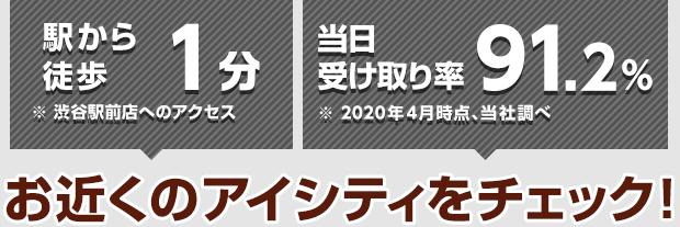 駅から徒歩1分※渋谷駅前店へのアクセス 当日の受け取り率91%※2018年4月、当社調べ アイシティは渋谷に2店舗!