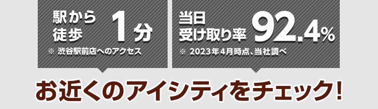 駅から徒歩1分※渋谷駅前店へのアクセス 当日受け取り率89.9%※2021年4月時点、当社調べ お近くのアイシティをチェック!