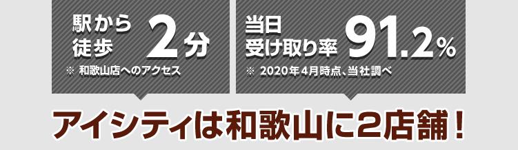 駅から徒歩2分※和歌山店へのアクセス 当日受け取り率90%※2019年4月時点、当社調べ アイシティは和歌山に2店舗!
