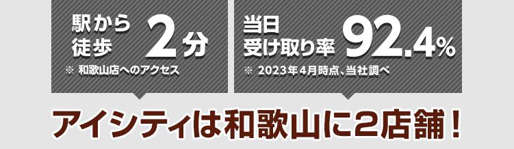 駅から徒歩2分※和歌山店へのアクセス 当日受け取り率89.9%※2021年4月時点、当社調べ アイシティは和歌山に2店舗!