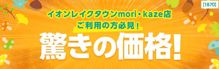 \イオンレイクタウンmori・kaze店ご利用の方必見!/驚きの価格!
